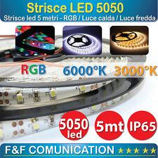 STRISCIA STRIP LED 5050 FLESSIBILE 5M ADESIVA LUCE INTERNO ESTERNO IP65 RGB