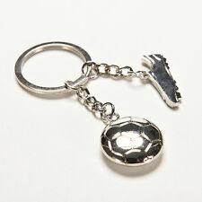 Silver Metal Cool Soccer Football With Shoe Keychain Keyrings Keyfob Gifts UQ