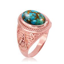 10K Rose Gold Masonic Blue Copper Turquoise Ring