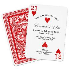 Personalised Playing Card Invitations Birthday Party Casino Las Vegas Poker Deck