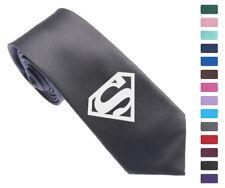 "DC Super Hero Superman Logo Skinny Slim Men Woven Silk 2.5"" Tie Necktie K06"