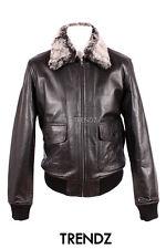 Men's G1 BLACK Fur Collar Aviator Top Gun Bomber Pilot Cowhide Leather Jacket