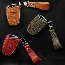 4Button Leather Smart Key Case Cover Strap for HYUNDAI 14-17 Santa Fe XL Maxcruz