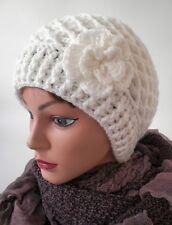 Cappello DELLE Donna Berretto lavorato a maglia con pon FIORE invernale Lana
