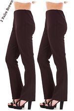 Mesdames finement côtelé bootleg stretch pantalon (2 paires en marron) taille 10 à 24