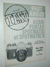 TEST PHOT ARGUS asahi PENTAX  SPOTMATIC et II francais photo photographie