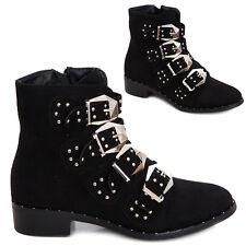 Stivali donna scarpe tronchetti biker boots borchie fibbie casual nuovi JL2006