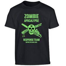 BOYS ZOMBIE APOCALYPSE T-SHIRT 5-6 7-8 9-10 12-13 COTTON TOP SKULL ARMY RESPONSE