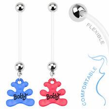 Boy Girl Baby Teddy Bear Dangle BioFlex Pregnancy Navel Belly Button Ring 14G