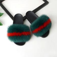 Women's Luxury Sliders Real Fox Fur Indoor Outdoor Slides Slippers Sandals Shoes