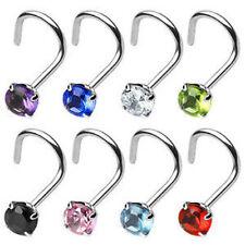 1pc Surgical Steel Nose Screw Ring wRound Prong Set Gem 18g,20g - choose color