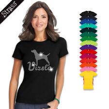 Damen T-Shirt Baumwolle Strass Strasssteine Strassbild Hund Magyar Vizsla M1