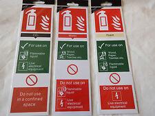 Fire Extinguisher Signs Rigid Plastic Foam Water CO2 Self adhesive 280mm x 85mm