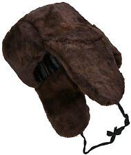 Dark brown sheepskin ushanka. Lambskin Russian winter hat with earflaps. Warm!