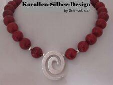 echt 925 Silber Korallen Kette Collier Edelstein Steinkette Halskette Damen rot