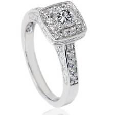 5/8 ct Princess Cut Halo Diamond Vintage Antique Engagement Ring 14K White Gold