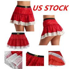 US Women Shiny Sequins Short Skirt Christmas Party Santa Cosplay Skating Costume