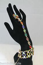 Femme Strass Cristal Chaîne Bracelet Bague bridal prom main bijoux fantaisie