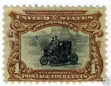 1901 4c Automobile red/brown/black (SC# 296)UNUSED OG H