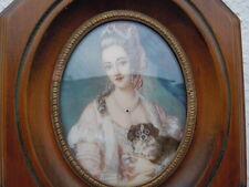 Tableau miniature portrait peint jeune femme & chien Style Louis XVI