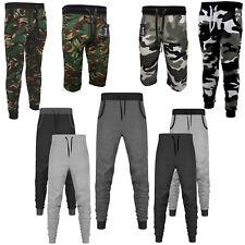 Mens Skinny Slim Fit Jogging Bottoms Sweat Pants Camo Print Shorts & 3/4 Shorts