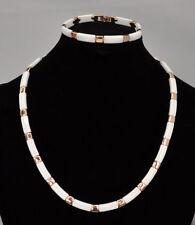 Collier Halskette Edelstahl Keramik Ceramic weiß ROSÉGOLD Kette Armband Vierecke