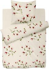 HNL Bettwäsche Audrey 100% Baumwolle weiß rot Blumen
