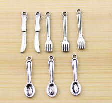 30/60/100 pcs Retro style ways knife  fork spoon charm pendant 24x5 mm