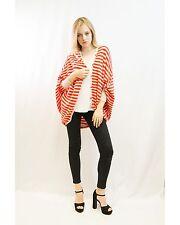 Lady Red and white mix Stripe fine knit bat-wing Oversize cardigan