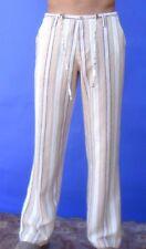 Men's Linen Beach Pants - Draw String for Groom Weddings - Striped White & Beige