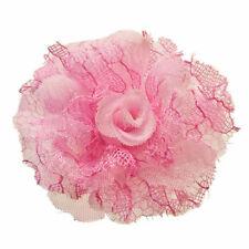 Bague ROSE Grande Fleur tissu dentelle ajustable Taille 56 58 60 62 64 66