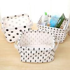 Linen Desk Box Holder Organizer Case Jewelry Cosmetic Storage Basket CB