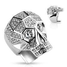 ANELLO CON SIGILLO statementring in argento Teschio Teschio con cristallo chiaro