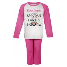 Personalised Unicorn Fairies Rainbow  Pjs Kids Pyjamas Childrens Girls Nightwear