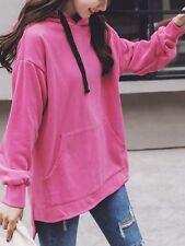 Pullover felpa donna cotone girocollo rosa acceso morbida lunga cappuccio 4332