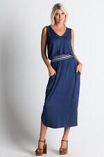 Navy Sleeveless Elastic Waist Knit Pocket Dress