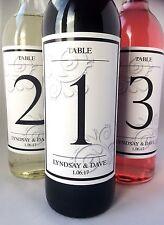 Personalised Wedding Day Sposa e Sposo Tavola Numero bottiglia di vino etichetta-Design 1