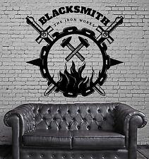 Wall Vinyl Decal Sticker Blacksmith Art Forging Metal Iron Works Decor z4820