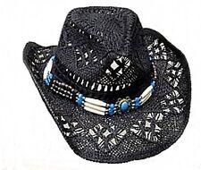 Strohhut Cowboyhut Westernhut Hut mit Hutband schwarz