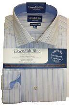 100% Algodón Mezcla de Azul Camisa rayas detalle 36.8cm-45.7cm NUEVO CON