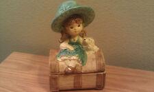 "Jewelry Box Girl & Dog Sitting on the Chest Ceramic 6""H"
