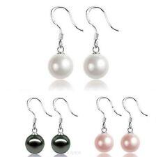 Classic 925 Sterling Silver 10mm Sea Shell Pearl Drop Hoop Earrings Gift Box C6