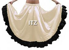 Cream & Black Satin 12 Yard Flamenco Skirt Belly Dance Gypsy Tribal Ruffle ATS