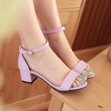 Women's Sandals Low Mid Heel Block Peep Toe Shoes Ankle Strap Summer Pumps New