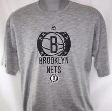 NEW Mens MAJESTIC Brooklyn Nets Grey Short Sleeve Big & Tall NBA Tee T Shirt