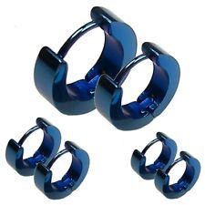 2x pendientes aro Huggie de acero inoxidable con cierre Hoop bonitos azul joyas