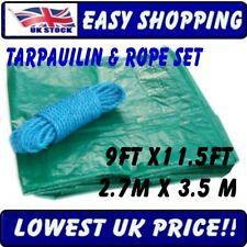 Bâche couverture remorque Tapis de sol connecter couvrir 2.7 m x 3,5 m + 15m corde Poly