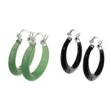 2x 925 Sterling Silver Natural  Ring Drop Hoop Huggie Earring
