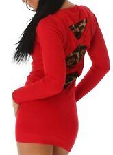 Sexy Miss Damen Long Pullover Leo Rücken Pulli Fein Strick Kleid XS/S rot Neu