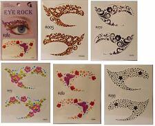 Eye Rock Sombra De Ojos Tatuaje Sticker Mariposa Negro Estrellas Flores, remolinos,